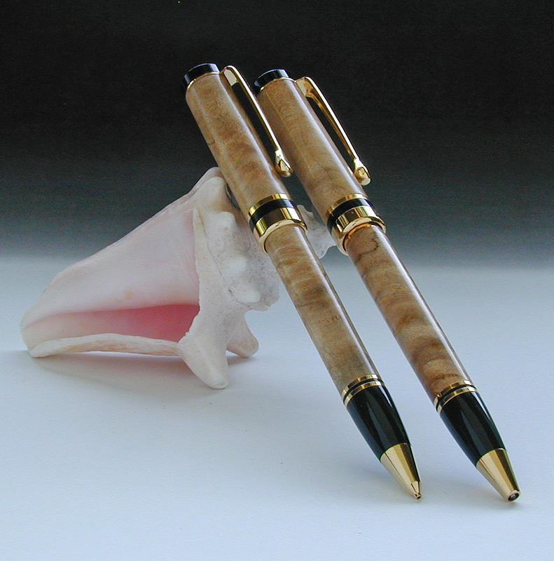 Maple Burl Pen Pencil Set Americana